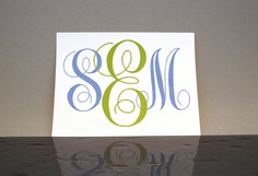 12 Custom Monogrammed Stationary 55 x 425  Simple   by YellowHype, $15.00