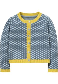 Cotton cardigan with 3D effect in blue and yellow.