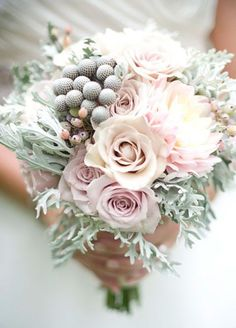 winter bouquet of berries and dusty miller