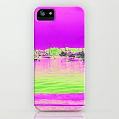 Green Pink Sea with Ships iPhone & iPod Case by BACK to BASICS - $35.00