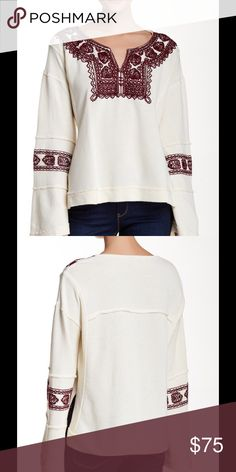"""🆕 FP Santa Maria embroidered blouse ivory Contrast color stitching embellishes the neckline and sleeves of a bell sleeve pullover. - Split neck - Long bell sleeves - Embroidery detail - Banded trim - Approx. 24"""" length - Imported Fiber Content: 100% cotton Care: Machine wash cold Fit: this style fits true to size. Brand new with tag. Retail price $148. Free People Tops Blouses"""