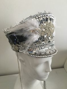 Love Khaos Smoke and Mirros hat with LED lights! Burning man hat, festival accessory, marching band feather headdress disco captain cap S/M