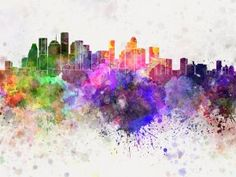 Detroit skyline in watercolor background. Detroit skyline in artistic abstract w , Baltimore Skyline, Detroit Skyline, Houston Skyline, Watercolor Canvas, Watercolor Background, Watercolor Paintings, Canvas Art, Watercolor Red, Watercolor Ideas