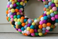 DIY Felt Ball Wreath