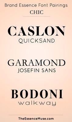 Brand Essence Font Pairings - CHIC Cursive Fonts, Text Fonts, Sans Serif Fonts, Handwritten Fonts, Calligraphy Fonts, Typography Fonts, Typography Design, Lettering, Business Fonts