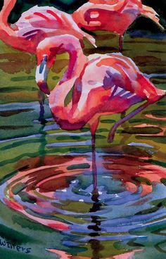 Bird Painting Acrylic, Flamingo Painting, Flamingo Art, Pink Flamingos, Watercolor Illustration, Watercolor Paintings, Flamingo Pictures, Hawaiian Art, Bird Artwork
