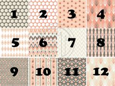 Cream Coral and Gray aztec patterns printed vinyl or heat transfer vinyl (iron on) in sample pack, 8.5x11 or 12x12 sheets...