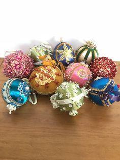 10 Vintage Bead & Sequin Christmans Ornaments / Satin Beaded
