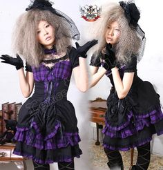 EGL Goth Aristocrat Lolita BJD Corset Cinch Lace Yolk Purple Check Bodice Dress