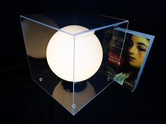 Modernist Vintage Laurel Lucite/Chrome Box Table Lamp w/ Frosted Globe (SOLD)