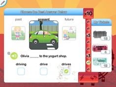 """InTense Home - Verb Practise for Kids ($14.99) -Over 4000 verb tense challenges across almost a hundred commonly used verbs. -Question cues as presented to the child as pictures, text and/or audio. -Answer questions via expressive and receptive approaches. -Answer verb questions correctly to earn """"tickets"""" to play a fun game."""