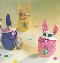 Use foam eggs and spring fabric to create Easter bunnies this season. These Easter bunnies are easy to make, inexpensive and just adorable when sitting on any table of your home.