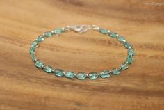 Apatite Bracelet, Sterling Silver, Apatite Jewelry, Minimalist, Layering Bracelet, Blue Gemstone Jewelry
