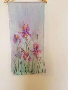 Irises on Purple Fabric Painting, Block Painting, Hand Painted Sarees, Fabric Paint Designs, Krishna Painting, Painted Clothes, Iris Flowers, Colorful Backgrounds, Painted Flowers