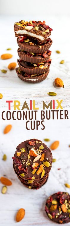 Easy 4-ingredient trail mix coconut butter cups that are vegan, gluten-free and paleo-friendly.