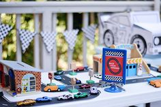 play race track Maverick's Race Car Birthday Party by Entertaining with Emily