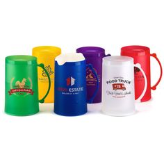 """12 oz. Ice Mug...You'll always make """"cold,"""" hard cash whenever your campaign includes the 12 oz. ice mug! This shatter-resistant, BPA-free, polypropylene mug with double walls can be frozen again and again. Just place it in the freezer for 2 to 4 hours, remove it and pour in your favorite beverage to keep your drink icy cold without it getting watered down. Available in 6 colors, this favor measures 3 5/8"""" w x 5 7/8"""" h. Have your logo, name or message silkscreened now!"""