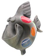 Pottery Fish : Happy Raku Fish