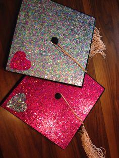 Glitter graduation caps