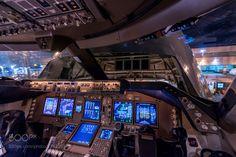 747-8 cockpit with open nose door by jpcvanheijst with planeaircraftairplanejetflyingboeingaviationcargopilotcockpit747crewfreighterflightdeckcargolux747-8flightcrewnose door