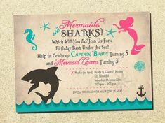 Wedding Invitations & Stationery by NellysPrint Twin Birthday Parties, 3rd Birthday, Birthday Ideas, Mermaid Invitations, Birthday Party Invitations, Underwater Birthday, Shark Mermaid, Twins 1st Birthdays, Shark Party