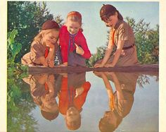 """March, 1963 (Girl Scout Calendar)    """"Twist me and turn me, and show me the elf,  I looked in the water and saw _______.""""   -from the Brownie Story"""