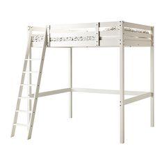 IKEA - STORÅ, Loftsängstomme, vitbets, , Du kan använda utrymmet under sängen till förvaring, skriv- eller sittplats.Stegen kan monteras på höger eller vänster sida av sängen.Gjord av massivt trä som är ett slitstarkt och levande naturmaterial.