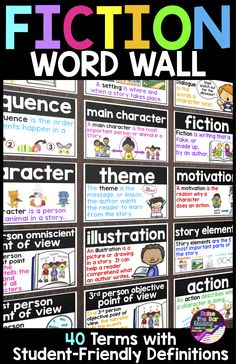 Support your fiction readers with a beautiful, visual fiction reading word wall!  40 terms are included with 3 different colored printing options!  These fiction vocabulary cards can be used as a word wall or for flashcards!