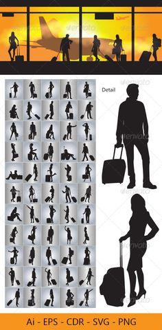 People with Travel Bag #GraphicRiver This is nice vector silhouettes. In this files include AI and EPS versions. You can open it with Adobe Illustrator CS and other vector supporting applications. I hope you like my design, thanks This files consists of : AI ( adobe illustrator ), EPS , PNG ( transparent ) , SVG ( inkscape – free vector software ) , CDR ( corel draw ) visit my silhouettes collection graphicriver /collections/3119286-silhouettes Created: 30April13 GraphicsFilesIncluded…