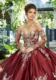 Look stunning in this bead embroidered sweetheart ball gown with A line skirt by Mori Lee Vizcaya Dramatic long tulle dress featuring rhinestone and crystal beading on three dimensional metallic embroidery, satin overlay. Matching stole and detachab Mexican Quinceanera Dresses, Mexican Dresses, Quinceanera Ideas, Quinceanera Dresses Maroon, Mariachi Quinceanera Dress, Sparkly Dresses, Formal Dresses, Red Ball Gowns, Ball Dresses