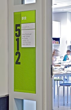 Experiential Graphic Design - Perf panel over glass. Poulin + Morris Heschel Classroom ID. Directional Signage, Wayfinding Signs, Outdoor Signage, Signage Display, Signage Design, Environmental Graphic Design, Environmental Graphics, School Signage, Hospital Signage