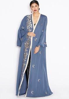 Shop Hayas Closet blue Embroidered Abaya AWN-153 for Women in UAE