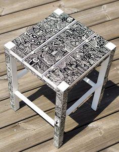 David - Zulu chair - Acrylique et Posca sur Bois https://www.behance.net/gallery/12153113/David-Zulu-chair