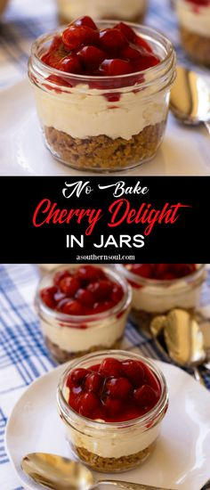 Mason Jar Cheesecake, No Bake Cherry Cheesecake, Mason Jar Desserts, Mason Jar Meals, Cheesecake Recipes, Cheesecake Bites, Mason Jar Cakes, Raspberry Cheesecake, No Bake Treats