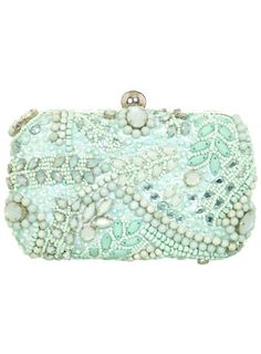 Mintgrüne, verzierte Clutch - Taschen & Geldbörsen - Accessoires