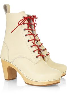 $390 Swedish Hasbeens Grandma lace-up leather boots - 75% Off Now at THE OUTNET
