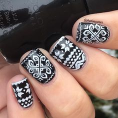 Christmas Sweater nail art - @sinfulcolors_official Black on Black stamped with @konad_art Special Polish in white using @moyou_london Festive 06