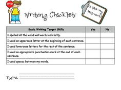 student checklist for writing