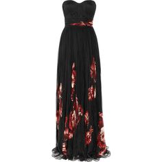 Alexander McQueen Floral-print pleated silk-chiffon gown (2,280 CAD) ❤ liked on Polyvore featuring dresses, gowns, vestidos, alexander mcqueen, long dresses, black, long black evening dress, black evening dresses, black sheer dress and long fitted dresses