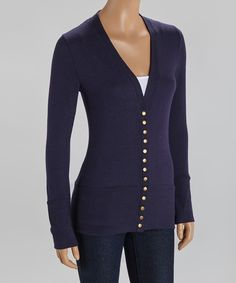This Zenana Navy Stud-Button Cardigan by Zenana is perfect! #zulilyfinds