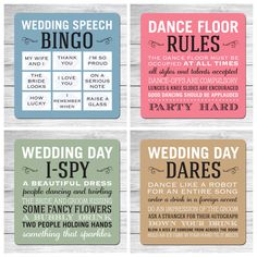 WEDDING BEER MATS Table/Favours Set of 4 designs (Quotes or Games) | eBay