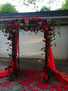 diy outdoor purple and red flowers wedding aisle arbor arch ceremony
