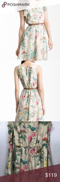 """TED BAKER Birdie Chiffon Dress TED BAKER Womens Size 2 Floral Spring Sleeveless Dress Elastic Waist  pit to pit 18"""" length from shoulder 36.5""""  excellent pre owned condition - no belt included Ted Baker Dresses"""