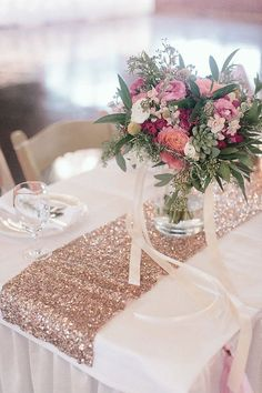 Rose Gold Table Runners Gorgeous Luxe Rose Gold Sequin Glitter Table Runner with finished edges. Gold Wedding Theme, Glitter Wedding, Wedding Themes, Party Themes, Party Ideas, Dusty Rose Wedding, Wedding Flowers, Rose Gold Weddings, Wedding Centerpieces