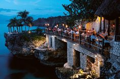 Rockhouse Restaurant | Romantic Sunset Dining | Modern Jamaican Food | Negril Jamaica | Rockhouse Hotel Not cheep, not inclusive, but it's rockhouses on the cliff. :))