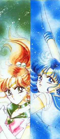 Manga. Sailor Jupiter and Sailor Mercury.