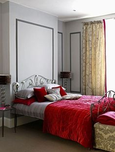 red gray bedroom- master bedroom