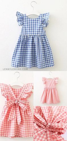 Just click your heels three times and say. Chic tie back for some extra sweetness. Cotton Gingham checked dress for girls for summer and spring season. Tween Fashion, Toddler Fashion, Fashion Outfits, Cute Outfits For Kids, Toddler Outfits, Baby Outfits, Little Girl Dresses, Girls Dresses, Spring Outfits