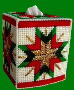 CHRISTMAS QUILTED STAR Boutique Size Tissue Box Cover