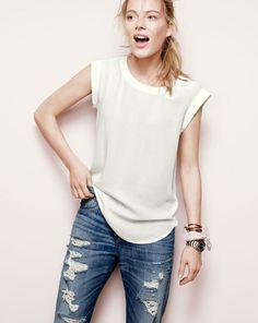 J.Crew sleeveless drapey top distressed jeans